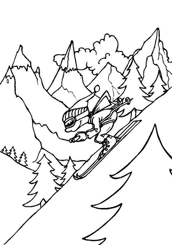 Скоростной спуск с горы Раскраски зима распечатать бесплатно