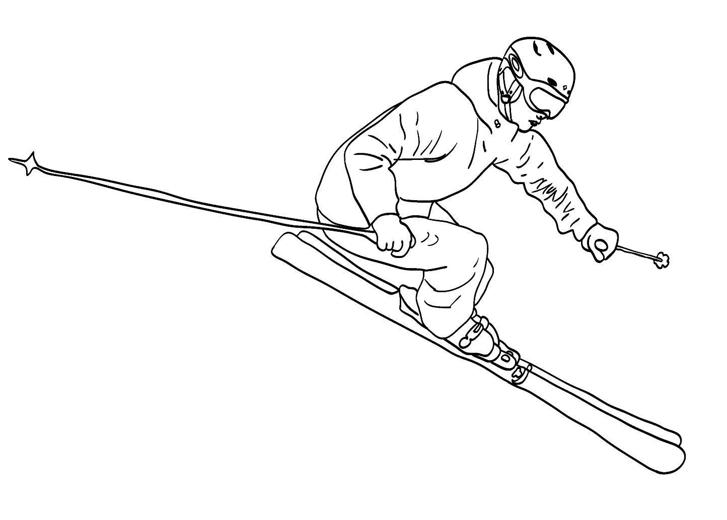 Полет на лыжах Раскраски зима распечатать бесплатно