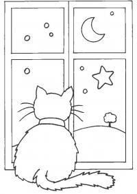 Кошка на окошке Раскраска сказочная зима