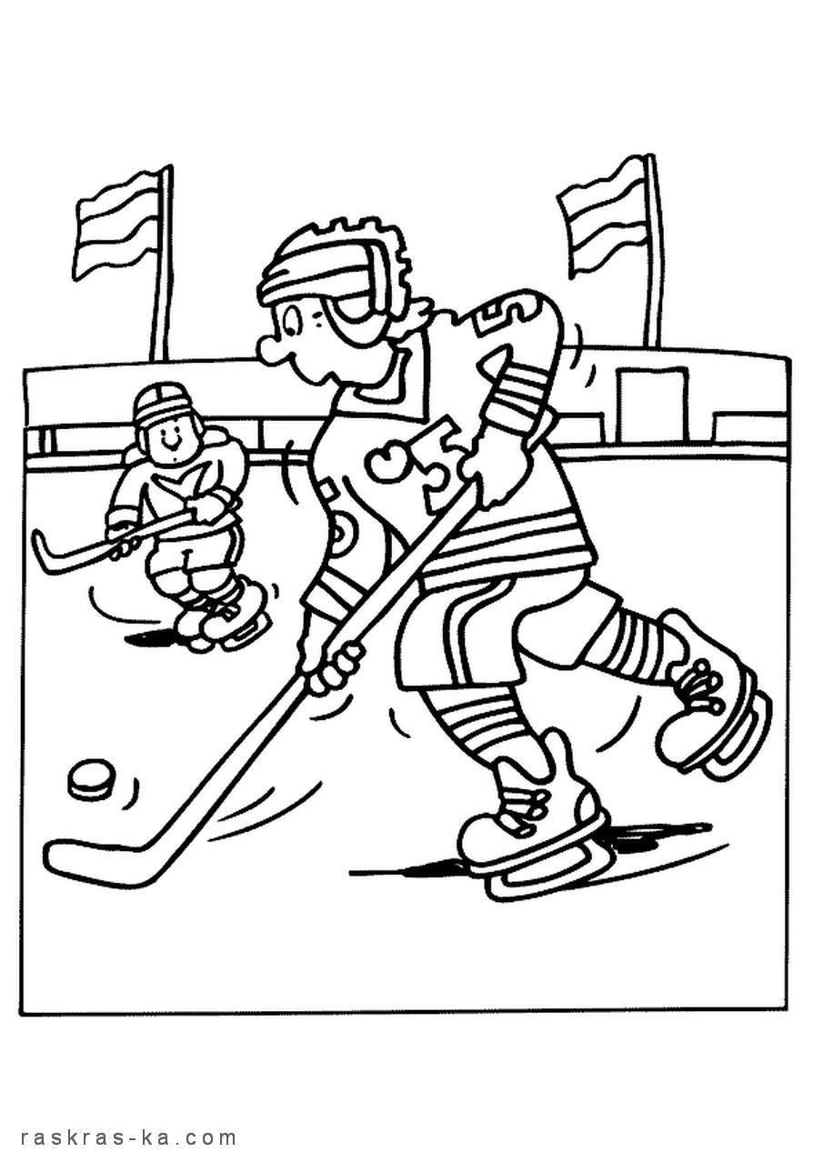 Хоккей Рисунок раскраска на зимнюю тему