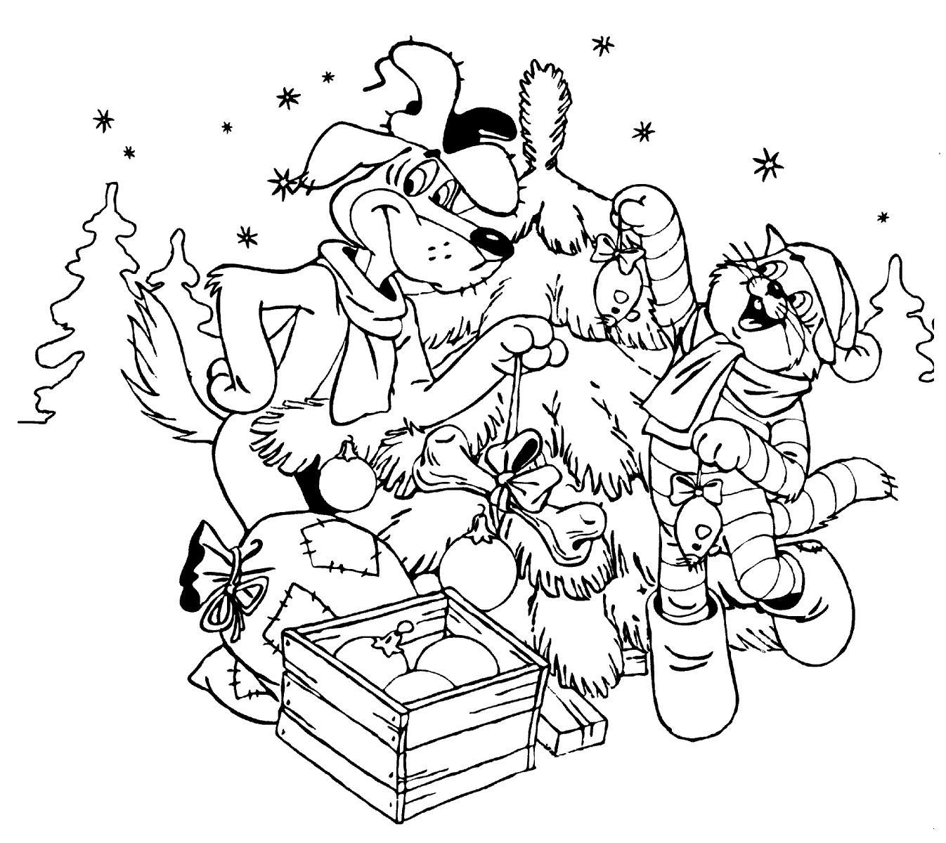 Простоквашино, наряжают елку Детские раскраски зима распечатать