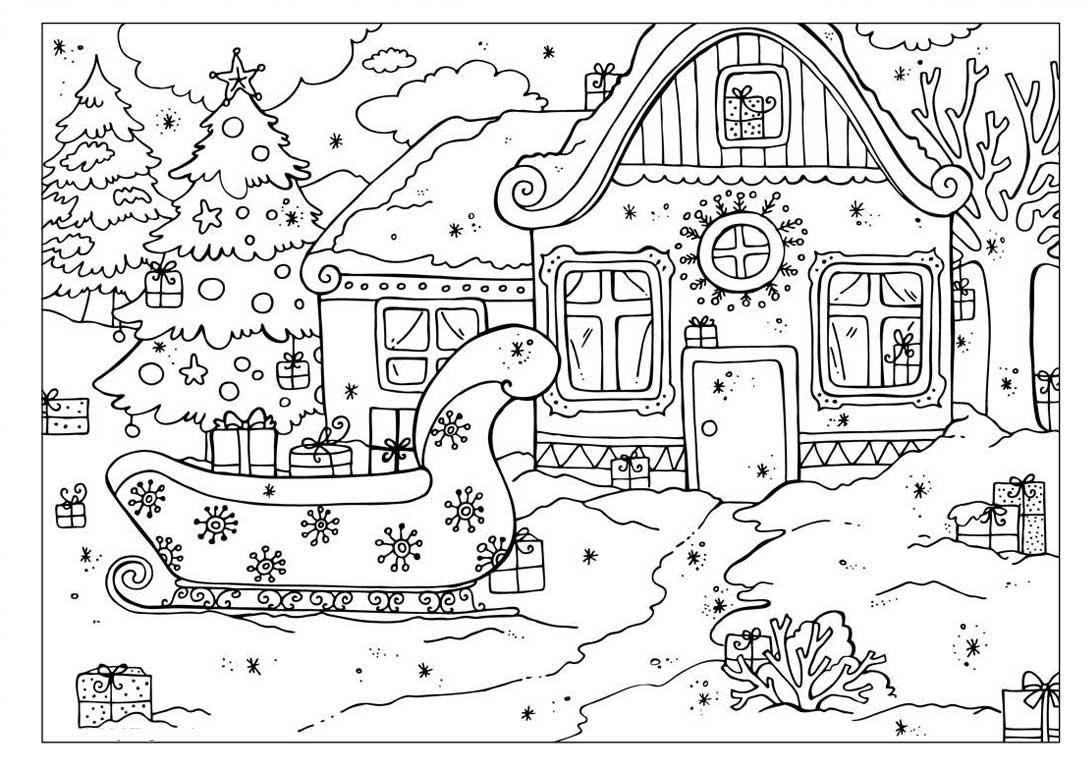 Сани возле украшенного дома Раскраска зима распечатать