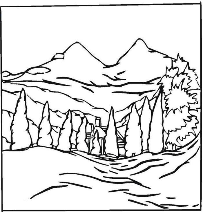 Зимняя природа Раскраска зима