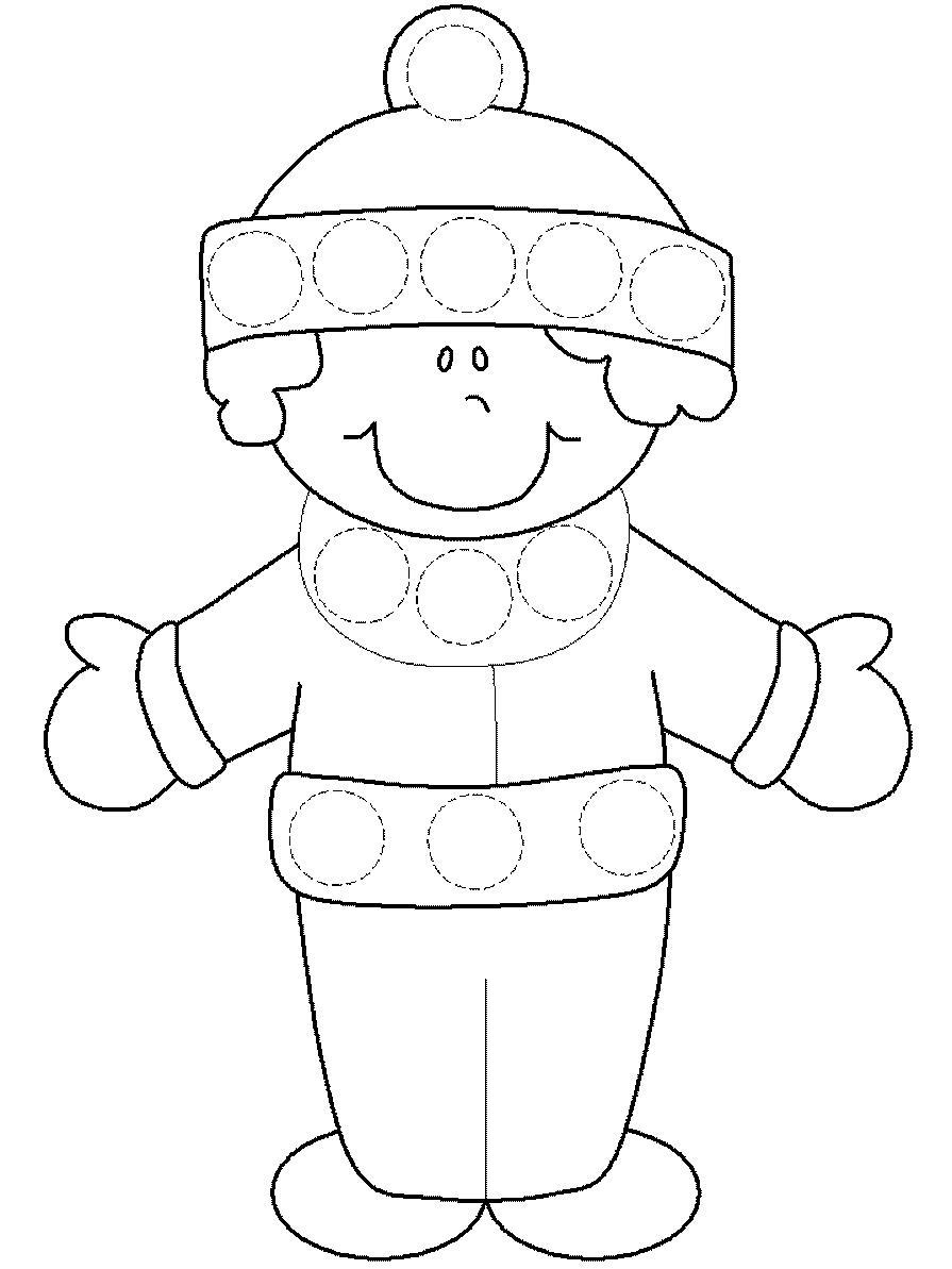 Мальчик Детские раскраски зима распечатать