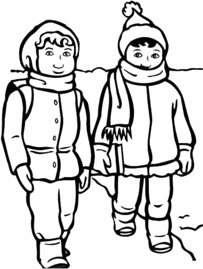 Дети в зимней одежде Раскраска зима пришла