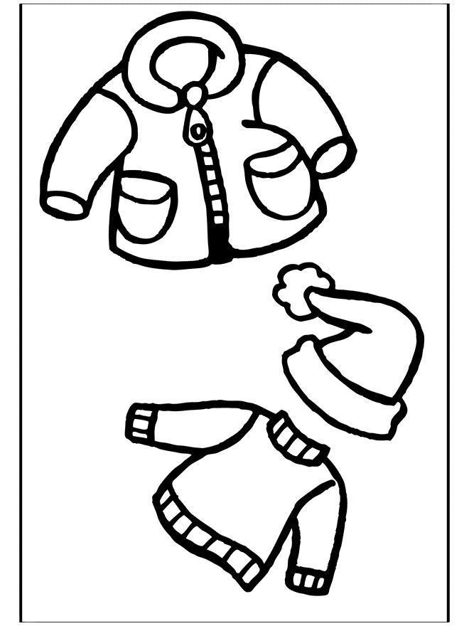 Зимняя одежда, куртка, шапка, свитер Раскраска зима пришла