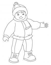 Ребенок в зимней одежде Раскраска зима пришла