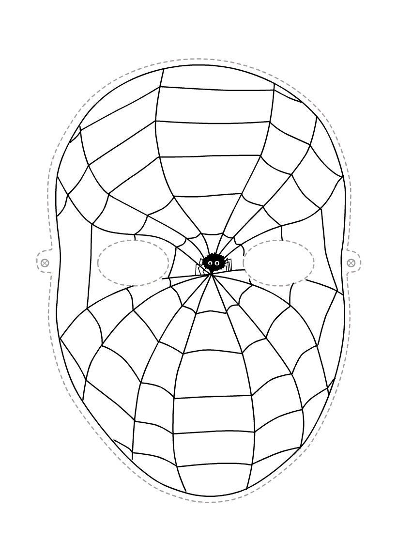 Маска человека паука Раскраски про зиму для детей