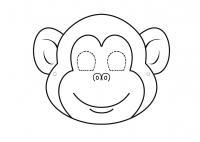 Маска обезьянки Раскраски про зиму для детей