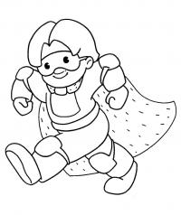 В костюме с плащом Раскраски про зиму для детей