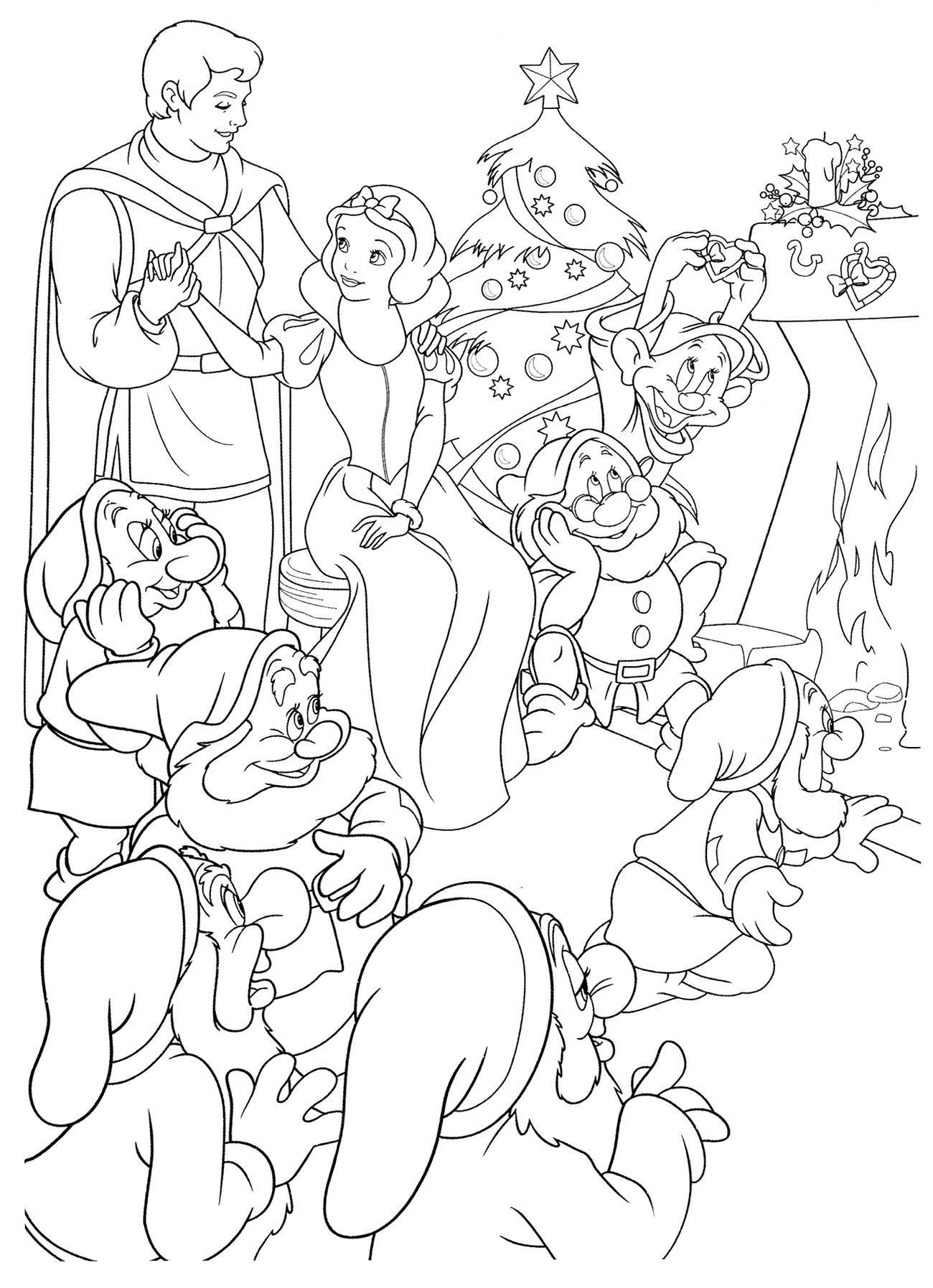 Белоснежка и семь гномов на рождество Зимние раскраски для девочек