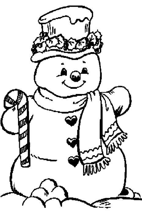 Снеговик с сердечками Рисунок раскраска на зимнюю тему