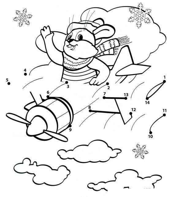 Зайчик в самолете Детские раскраски зима распечатать