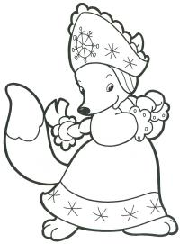 Лисичка Детские раскраски зима распечатать