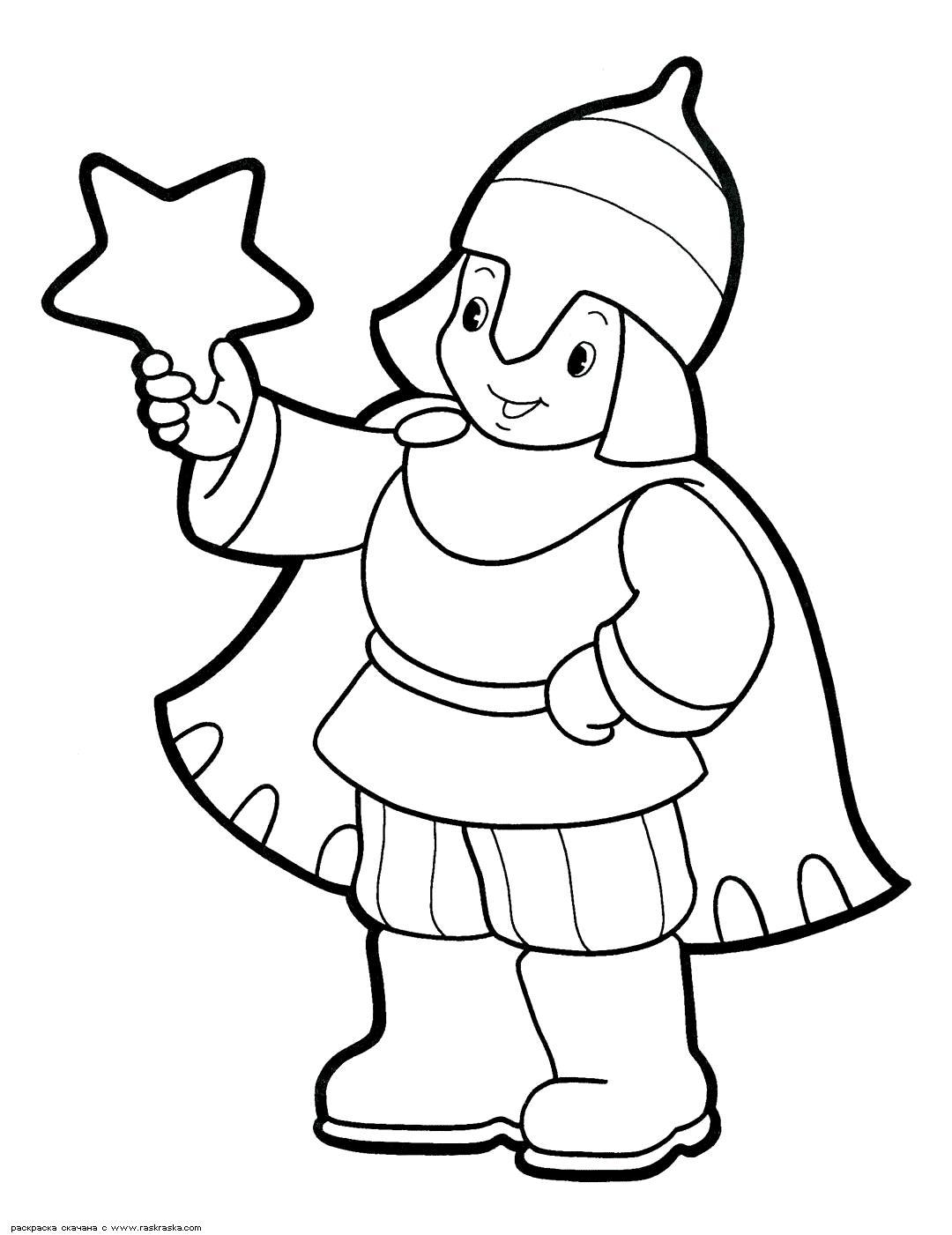 В костюме воина Раскраски про зиму для детей