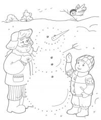 Внук с дедом лепят снеговика Зимние рисунки раскраски