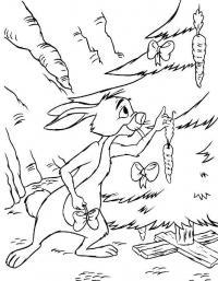 Заяц украшает елку морковками Раскраска зима распечатать