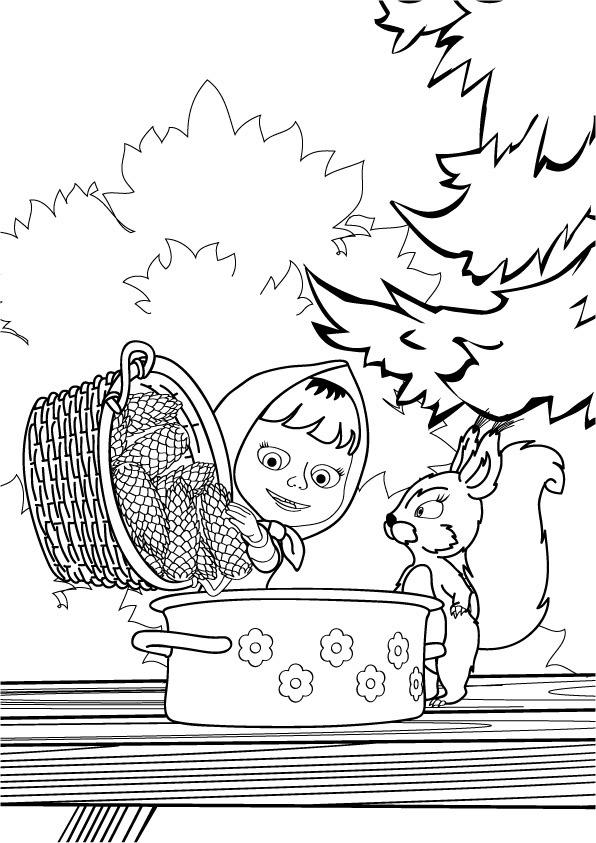 Маша с шишками Детские раскраски зима распечатать