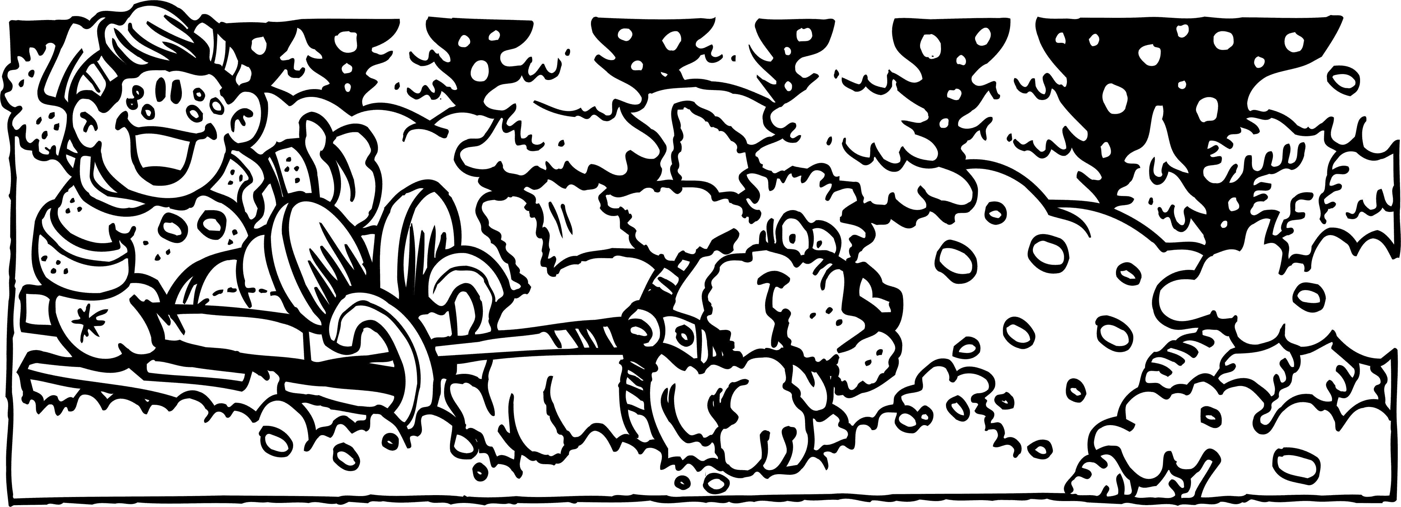 Озорная езда на собаках Раскраска зима распечатать