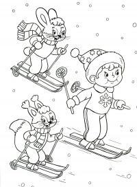 Мальчик с зайчатами на лыжах Рисунок раскраска на зимнюю тему