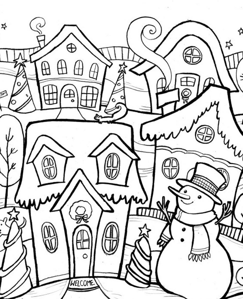 Снеговик возле дома Детские раскраски зима распечатать