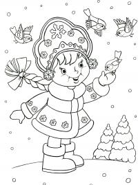 Маленькая снегурочка кормит синичек Раскраска зима