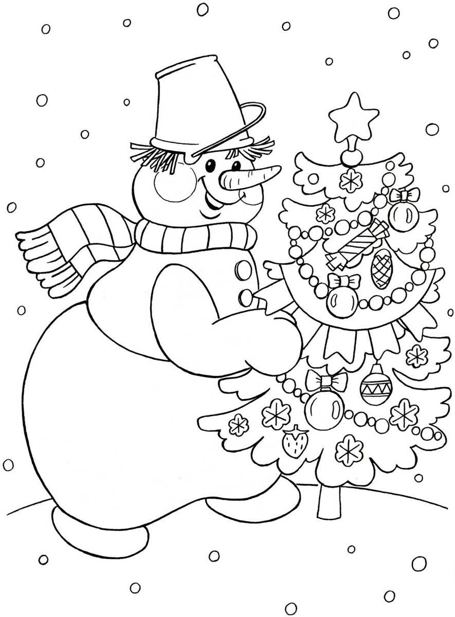 Снеговик с ведром на голове несет новогоднюю елку с ...