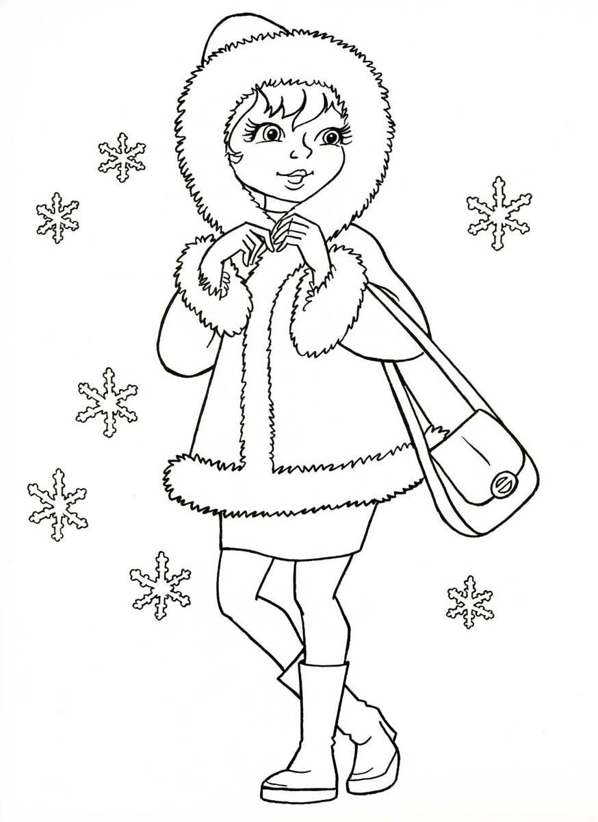 Девочка в зимней одежде и хороводе снежинок девочка ...