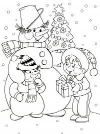 Открытки с снеговиком Рисунок раскраска на зимнюю тему