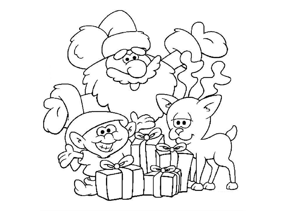 Открытки, санта клаус с эльф и оленем Детские раскраски зима распечатать