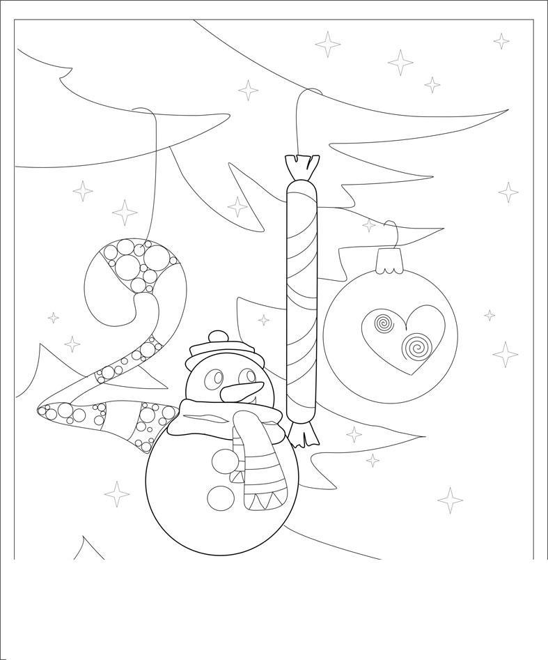 Открытки с елочкой Рисунок раскраска на зимнюю тему