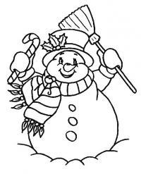Открытки с веселым снеговичком Рисунок раскраска на зимнюю тему