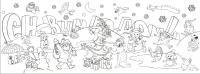 Открытка с героями мультфильмов Детские раскраски зима распечатать