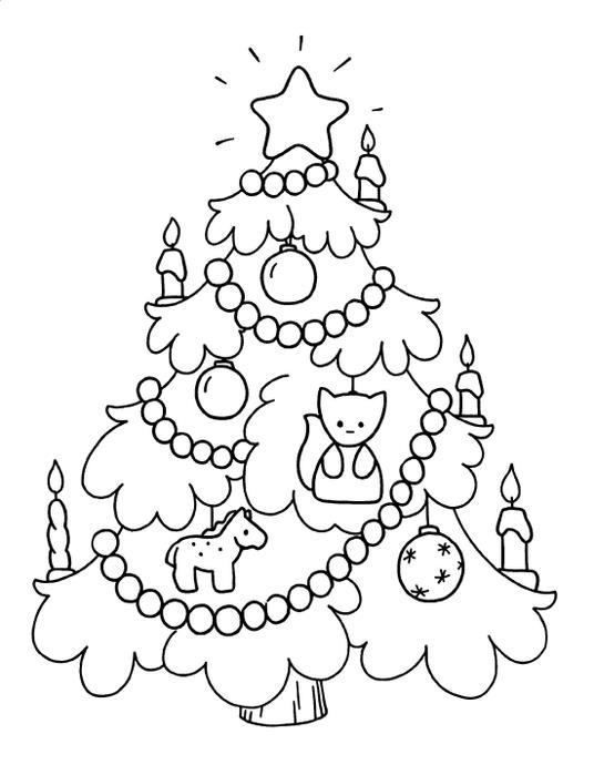 Открытка с украшенной елочкой Раскраска сказочная зима